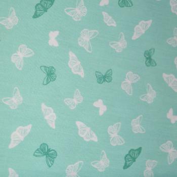 Tissu popeline 100% coton papillons vert