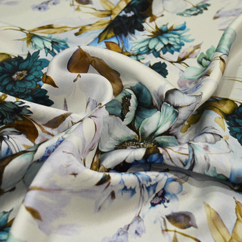Floral print silk satin fabric blue and gold