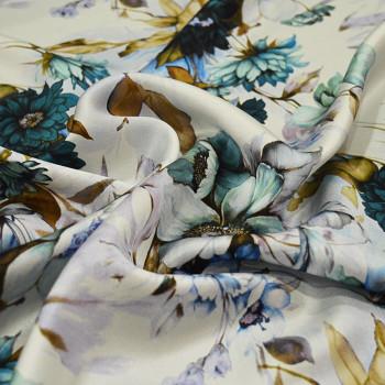 Tissu satin de soie imprimé floral bleu et or