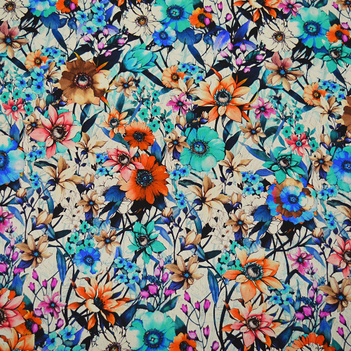 Floral satin silk print fabric