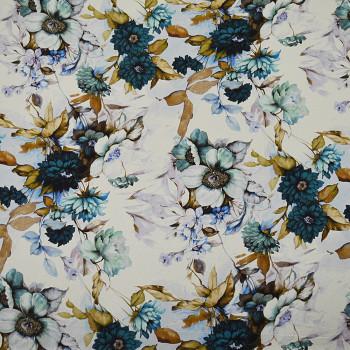 Tissu mousseline de soie imprimé floral bleu et or