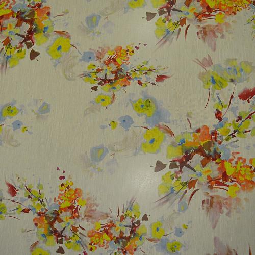Tissu mousseline de soie imprimé peinture florale