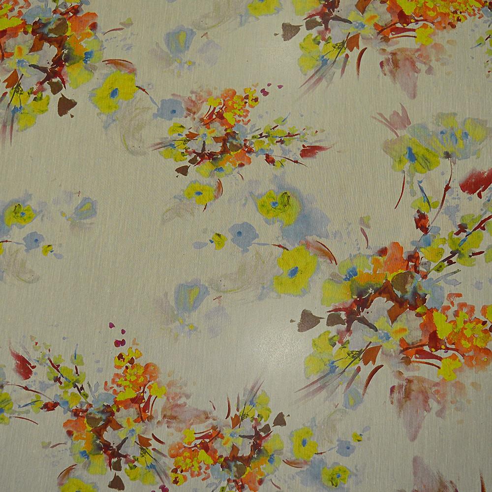tissu mousseline de soie imprim peinture florale. Black Bedroom Furniture Sets. Home Design Ideas