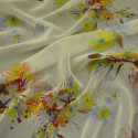 Chiffon printed floral painting fabric