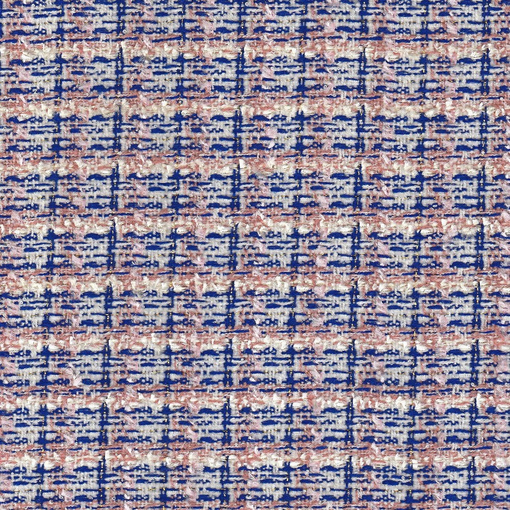 tissu tiss u00e9 et iris u00e9 effet tweed rose et bleu