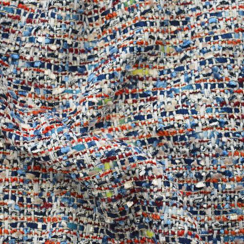 Tissu tissé et irisé effet tweed multicolore