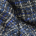Tweed iridescent woven fabric navy blue and black