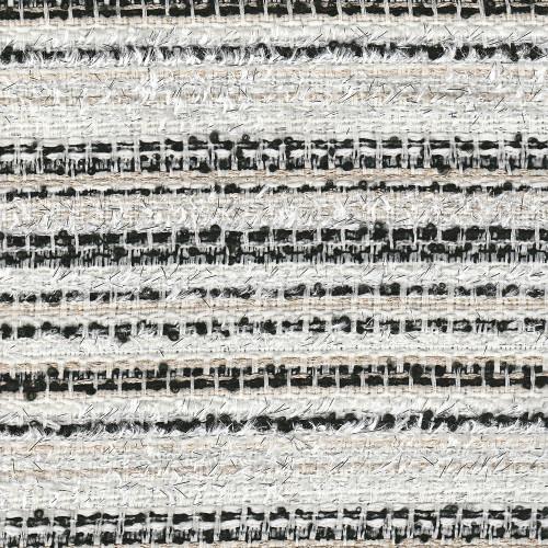 Tissu tissé et irisé effet tweed ivoire et noir