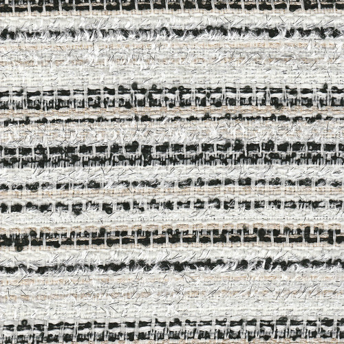 Tweed iridescent woven fabric ivory and black