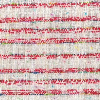 Tissu tissé effet tweed rouge et blanc