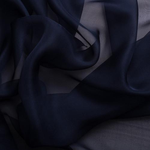 Mousseline de soie 100% soie bleu nuit