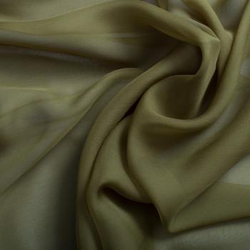 Mousseline de soie 100% soie vert kaki