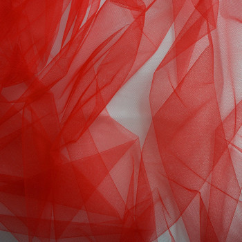 Red illusion tulle fabric