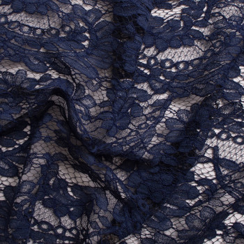 Calais lace embroidered night blue