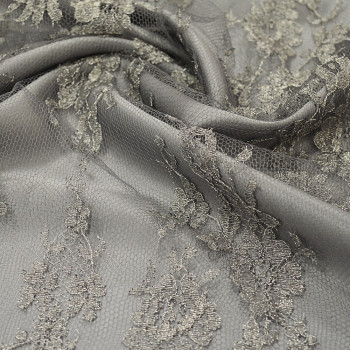Calais lace laminette charcoal grey