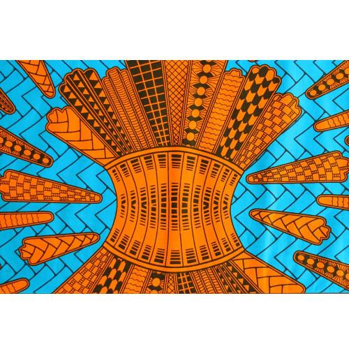African wax fabric arrows orange turquoise