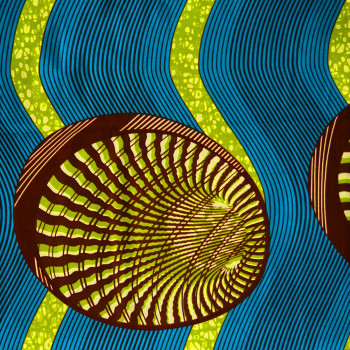 African wax fabric shells green blue (2.4 meters)