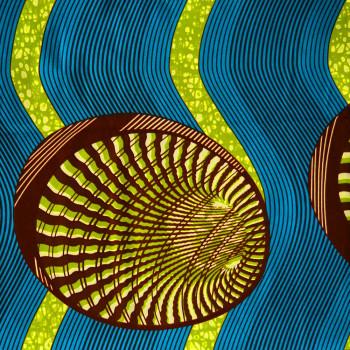 Tissu wax africain coquillages vert bleu