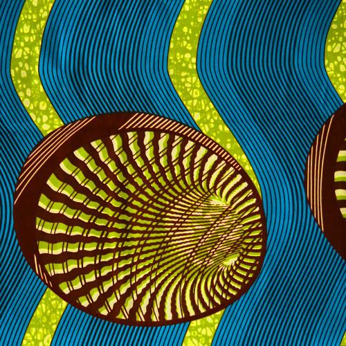 Tissu wax africain coquillages vert bleu (2,40 mètres)