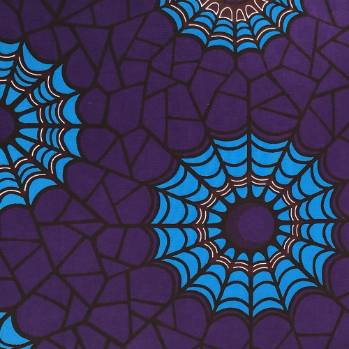 Tissu wax africain toile araignée violet bleu