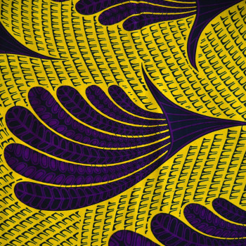 African wax fabric feathers purple yellow