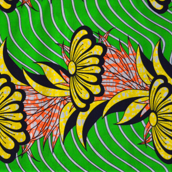 Tissu wax africain frise fleurs jaune vert