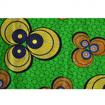 Tissu wax africain coquillages jaune vert