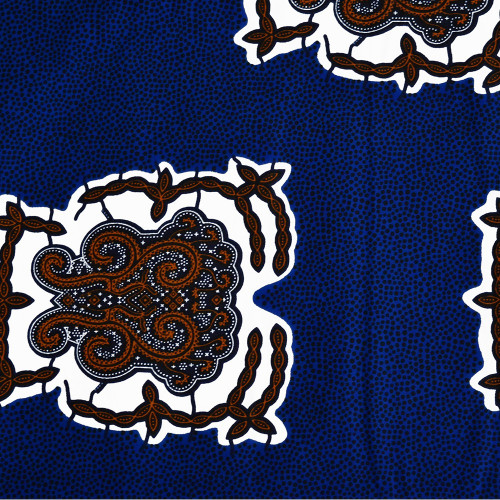 African wax fabric paisley polka dots blue orange
