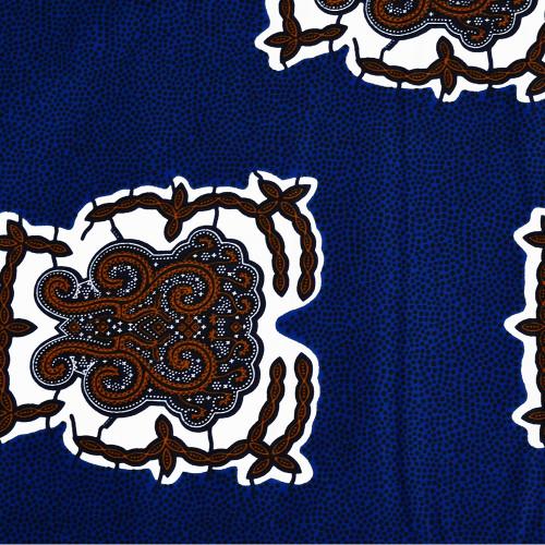Tissu wax africain paisley à pois bleu orange