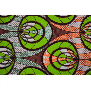Tissu wax africain cercles vert orange