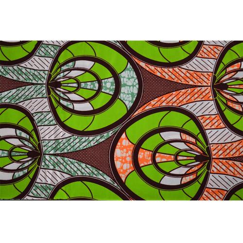 African wax fabric circles green orange