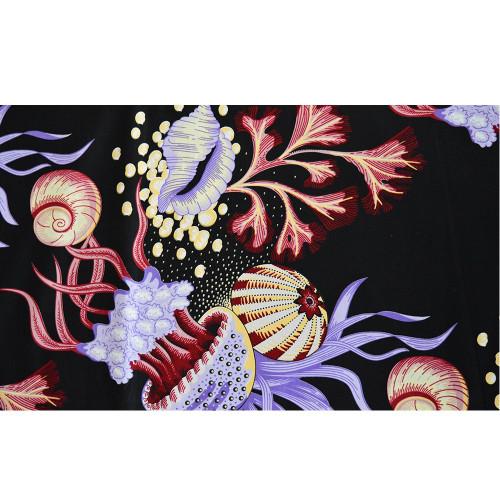 Tissu wax africain imprimé japonisant aquatique méduses coquillages