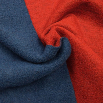 Tissu laine bouillie double face bleu/rouge