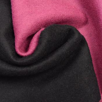 Tissu laine bouillie double face rose/noir