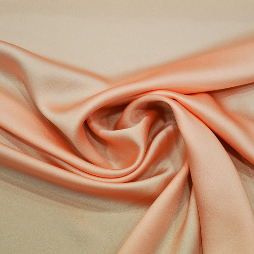 Salmon satin cady crepe fabric