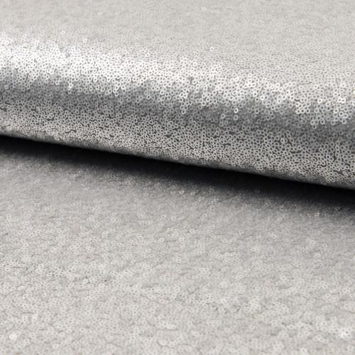 Tissu paillettes cocktail gris argent