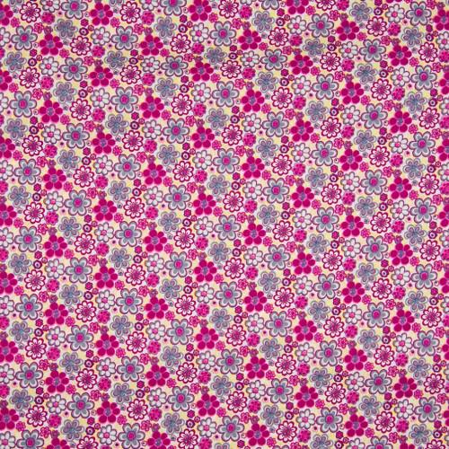Tissu popeline 100% coton floral fleurs violettes