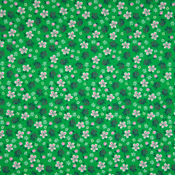 Tissu popeline 100% coton imprimé petites fleurs fond vert
