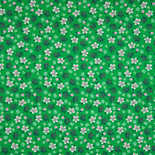 Poplin fabric 100% cotton printed small flowers green background