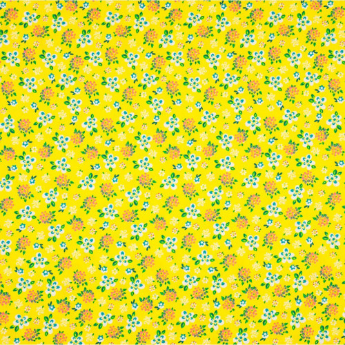 Poplin fabric 100% cotton printed small flowers yellow background