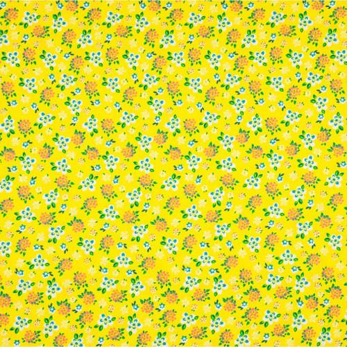 Tissu popeline 100% coton imprimé petites fleurs fond jaune