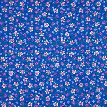 Tissu popeline 100% coton imprimé petites fleurs fond bleu royal