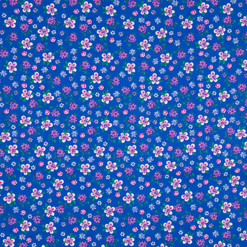 Poplin fabric 100% cotton printed small flowers royal blue background