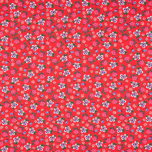 Tissu popeline 100% coton imprimé petites fleurs fond rouge
