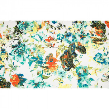Turquoise and orange floral cotton satin fabric