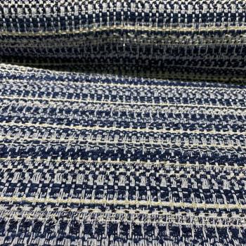 Tissu tissé et irisé effet tweed marine blanc et or