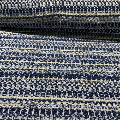 White and gold navy tweed woven and iridescent fabric