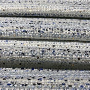 Tissu tissé et irisé effet tweed blanc bleu et paillettes