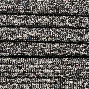 Tissu tissé et irisé effet tweed à carreaux noir blanc et paillettes