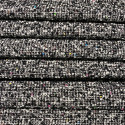 Woven and iridescent tweed fabric with black white checks and sequins